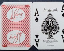 Used casino playing cards Paris red back